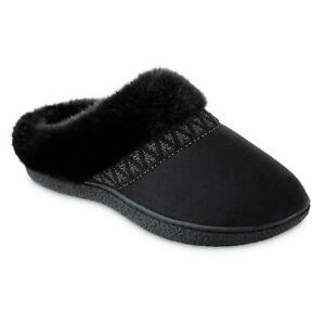 Isotoner Women's Microsuede Sage Hoodback Slippers NEW WITH TAGS