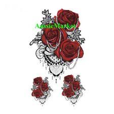 3 x small temporary tattoo rose flower floral sticker ladies girls fancy dress