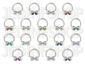 Circular Barbell Horseshoe Ring | 2.4mm (10g) - 10mm | Double Gem - 18 Colours