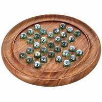 Wood Art Store Wooden Games Solitaire Board with Glass Marbles (Brown) UK