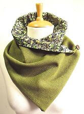 Scottish 100% wool Green Tweed Ladies Scarf/Snood with Liberty Tana Lawn lining