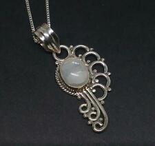 925 Silver Indian Ethnic Moonstone Pendant Necklace Jewellery