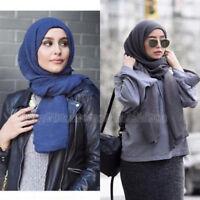 Women Muslim Ruffle Hijab Long Scarf Arab Headwrap Shawls Islamic Shayla Scarf
