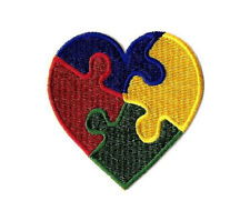 Autism Awareness Heart - Asperger's Syndrome - April - Embroidered Iron On Patch