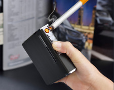 Sleek Cigarette Case Flame-less Electronic Lighter USB Rechargeable Box Holder