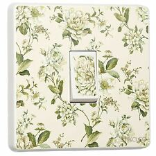Bethany Floral Cream & Green Light Switch Sticker vinyl skin cover