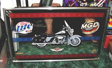 Harley Davidson 100th Anniversary Miller Lite MGD Beer Motorcycle Mirror Sign