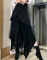 Occident Women's Gothic Mixed Lace Irregular Long Skirt Punk Slim Fit Long Dress