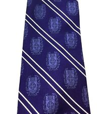 Logo University Insignia NeckTie Suit Silk College School Fun Tie Striped Purple