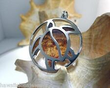 39mm Hawaiian Rhodium Brass Genuine Inlaid Koa Wood Reversible Turtle Pendant #2