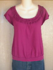 Elle S Pink Ruffle Pima Cotton Top Shirt