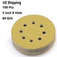 100pcs 5'' inch 60 Grit Hook and Loop Sanding Sandpaper Sander Discs Pads Sheets