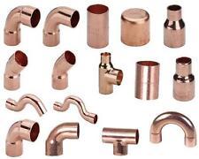 Kupfer-Lötfittinge, Bögen , Muffen , Winkel , Übersprünge , Kappen usw. 6 - 35mm