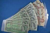 15 Uncirculated Canadian Bills  5 x1973 $1.00  - 5x1986  $2.00 & 5x 1867-1967 $1