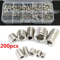 200pcs M3 M4 M5 M6 M8 Stainless Steel Hex Socket Set Screws Assortment Kit *
