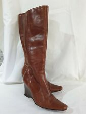 Next Leather Boots Size UK 5 Eur 38 Womens Ladies Shoes Wedge Brown Boots