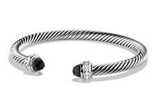 Vintage David Yurman Cable Classics Black Onyx & Diamond Sterling Cuff Bracelet