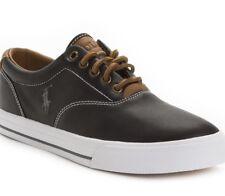 New Polo Ralph Lauren logo Vaughn leather Sneakers black 14D lace up shoes men