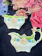 VINTAGE 1940 handmade PORCELAIN child or DOLL tea set CREAM & SUGAR bowls SIGNED