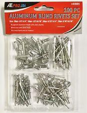 100 Piece Pop Rivet Assortment Set Aluminum Blind Riveter Gun Air & Hand 4 sizes