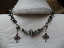 BOHEMIAN Chakra Tree Agate BOHO Tibetan silver Tree of Life charms Bib NECKLACE