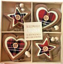 8 x Christmas Tartan Scottish Rustic Wooden Heart Star Xmas Tree Decorations New
