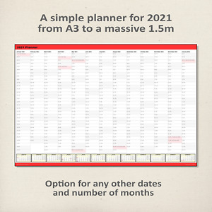 Simple 2021 Wall Planner / Calendar RED - choice of 5 sizes, ship folded/rolled