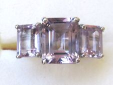Rose de France Amethyst 3-Stone Ring / size 7 / 925 Sterling Silver, 4.85ct