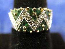 VINTAGE 14K YELLOW GOLD EMERALD AND DIAMOND RING   SIZE 6.5      (MARKED 14K)