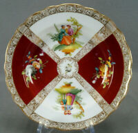 Dresden Hand Painted Watteau Courting Couple Red Gold & Floral Shallow Bowl