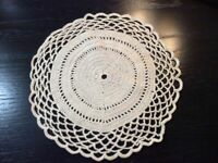 Vintage Doilie Hand Made Doily Crochet Table Lace Dresser Scarf Staging 0327