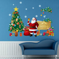 Merry Christmas Window Wall Sticker Decals Santa Claus Tree Home Xmas Decor
