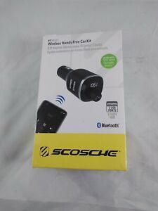Scoshe BTFREO Wireless Hands Free Car Kit Bluetooth FM transmitter New