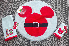 Mickey Mouse Santa Claus Bath Rug Match Hand & Finger Towels Christmas NEW Lot 3