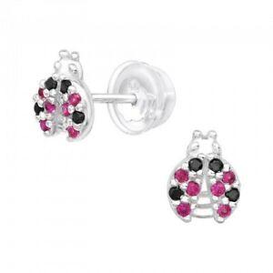 925 Sterling Silver Ladybird Cubic Zirconia Stud Earrings