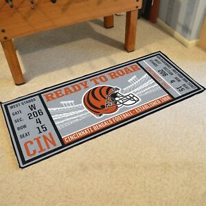 """Cincinnati Bengals 30"""" X 72"""" Ticket Runner Area Rug Floor Mat NFL FANMATS"""