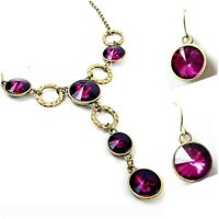 Geomon Necklace Earring Fuchsia Lucite Crystal Long Pendant Drop Brass Circle
