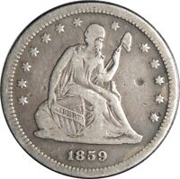 1859-P 25C SEATED LIBERTY SILVER QUARTER VF DETAILS OLD LIGHT CLEANING 050721412