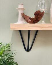 Handcrafted solid wood shelves with black hairpin prism brackets - shelf kit inc