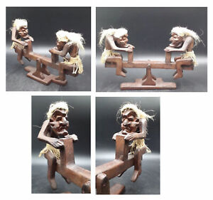 Primitive Tribal Wooden Hand Carved Men On A Seesaw,Ornament,(A One Off Piece)