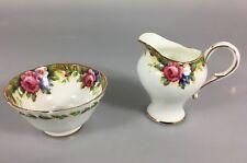 Paragon Tapestry Rose Fine Bone China Gold Leaf Trim Sugar Bowl & Creamer 1940s