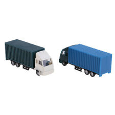 2Pcs 1:100 HO Scale Model Truck Container Construction Vehicle Freight Cars
