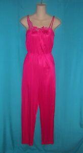 VINTAGE Fuchsia PINK Lace Trim RETRO Lingerie 1PC Pants JUMPSUIT Sleepwear S