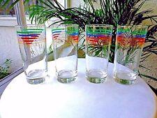 Set of 4 International Multi-Color Glass Tall Highball / Iced Tea Tumblers