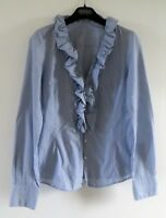 STUNNING CELINE STRIPED FITTED FRILLED FRONT BLOUSE SIZE 34