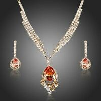 Gold Plated Swarovski Elements Cubic Zirconia Jewellery Set Necklace Earrings