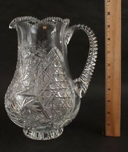 19thC Antique American Brilliant Cut Glass Water Pitcher, PERFECT ... No Reserve