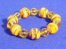 MURANO GLASS BEADED BRACELET #ORANGE, YELLOW, WHITE, COPPER #137-A/8