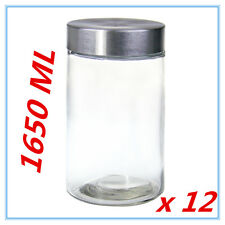 12 x Round Screw Top Large 1650ml Storage Preserving Kitchen Glass Jars COFFEE A