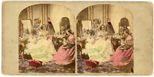 """Stereo, Angleterre, """"Before the Ball"""" Vintage stereo card -  Tirage albuminé a"""
